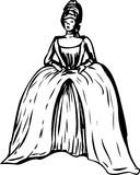 Outlined Woman with Round Gown and Stomacher. Outlined woman in round court dress with open bodice and stomacher stock illustration