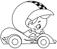 Outlined kid race car driver Royalty Free Stock Photo