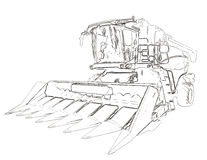 Outlines of the agricultural harvester Stock Image