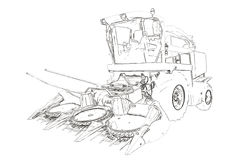 Outlines of the agricultural harvester Stock Photo