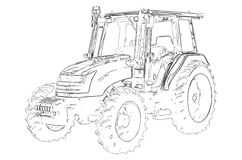 Outlines of the agricultural tractor Royalty Free Stock Images