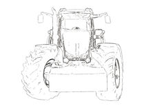 Outlines of the agricultural tractor Stock Images