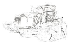 Outlines of the agricultural tractor Stock Photos
