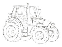 Outlines of the agricultural tractor Royalty Free Stock Photos