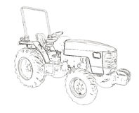 Outlines of the agricultural tractor Royalty Free Stock Photography