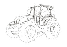 Outlines of the agricultural tractor Royalty Free Stock Image