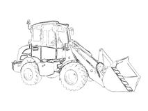 Outlines of the bulldozer Stock Image