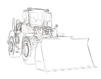Outlines of the bulldozer Stock Photo