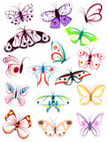 The outlines of butterflies Stock Photography