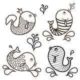 Outlines of cartoon fish. Vector set.  Royalty Free Stock Images