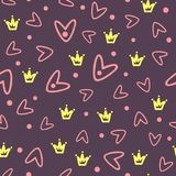 Outlines of the crowns and hearts drawn by hand. Seamless pattern. Royalty Free Stock Images
