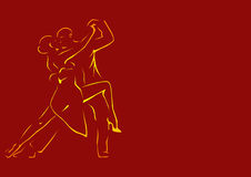 Outlines of a dancing couple on a burgundy background Stock Photography