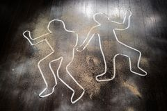 Outline of dead bodies stock photography