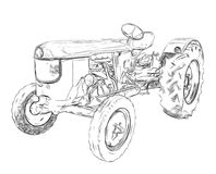 Outlines farm tractor Stock Photography