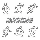 Outlines figures of runners. For running stickers, emblems and web design Stock Photo