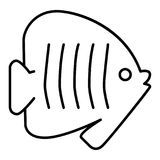 Outlines fish icon illustration on white background. Flat linear icon.  Stock Photography