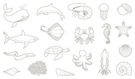 The outlines of fish and other sea creatures Stock Images