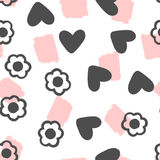 Outlines of flowers, silhouettes of hearts and brush strokes. Seamless pattern. Drawn by hand. Stock Photo