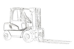 Outlines of the forklift Royalty Free Stock Photography