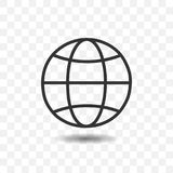 Outlines globe icon with shadow. Outlines globe icon with shadow on transparent background Royalty Free Stock Photo