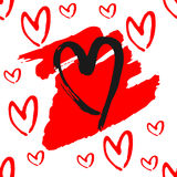 The outlines of hearts, rough brush strokes. Seamless pattern. Royalty Free Stock Photography