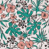 Outlines jungle flowers seamless pattern. hand-drawn botanical illustration. Vintage floral composition. fashion trend neutral art Royalty Free Stock Images