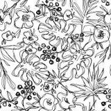 Outlines jungle flowers seamless pattern. hand-drawn botanical illustration. Vintage floral composition. fashion trend neutral art Stock Images