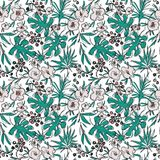 Outlines jungle flowers seamless pattern. hand-drawn botanical illustration. Vintage floral composition. fashion trend neutral art Stock Image