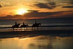 Outlines mit dem Sonnenaufgangkommen einer Gruppe Pferderueckenreiter stockbilder