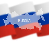 Outlines of Russia on national flag background Stock Images