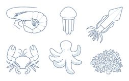 The outlines of sea creatures Stock Images