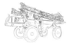 Outlines of the self propelled sprayer Stock Photo