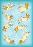 Outlines set of hands on pattern background Stock Photo