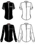Outlines of shirts. Long sleeve and short sleeve shirts in black and white Stock Photography