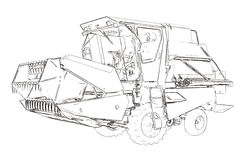 Outlines of the small agricultural harvester Royalty Free Stock Photography