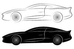 Outlines of Sports Cars Stock Images