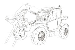 Outlines of the telescopic handler Royalty Free Stock Images