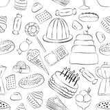 Outlinrd sweets seamless pattern with hand drawn elements vector illustration