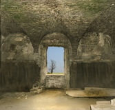 Outlook. Abstract indoor landscape in a ruined castle in Romania Royalty Free Stock Image