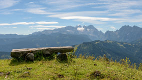 Outlook with bench on mountains Royalty Free Stock Photo
