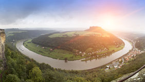 Outlook from castle Koenigstein in Saxony, Germany Royalty Free Stock Photo