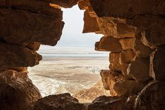Outlook through the cave breach on the Judaean Desert, Israel Stock Image