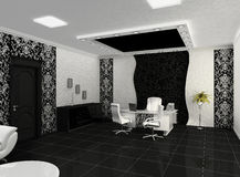 Outlook of creative office with workplace. Office space. 3d render. Furniture Stock Illustration