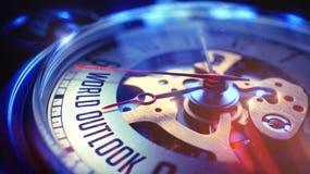 Outlook del mondo - frase sull'orologio d'annata 3d Immagine Stock Libera da Diritti