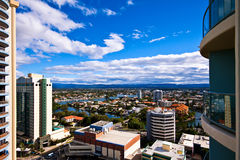 Outlook from Gold Coast Resort. The view from a balcony in a Surfers Paradise resort on the Gold Coast Royalty Free Stock Photo