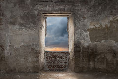 Outlook. Interior of the ruins of an old abandoned castle in Transylvania Stock Images