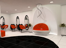 Outlook of luxury beauty salon. With wall construction Vector Illustration