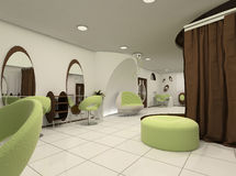 Outlook of luxury beauty salon. Workplaces in modern interior Vector Illustration
