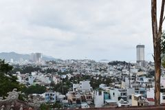 Outlook of Nha Trang City from Long Son Pagoda in Vietnam, Asia stock image