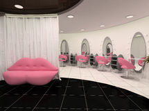 Outlook of stylish beauty salon. Sofa lips and perspective of workplaces Stock Photography